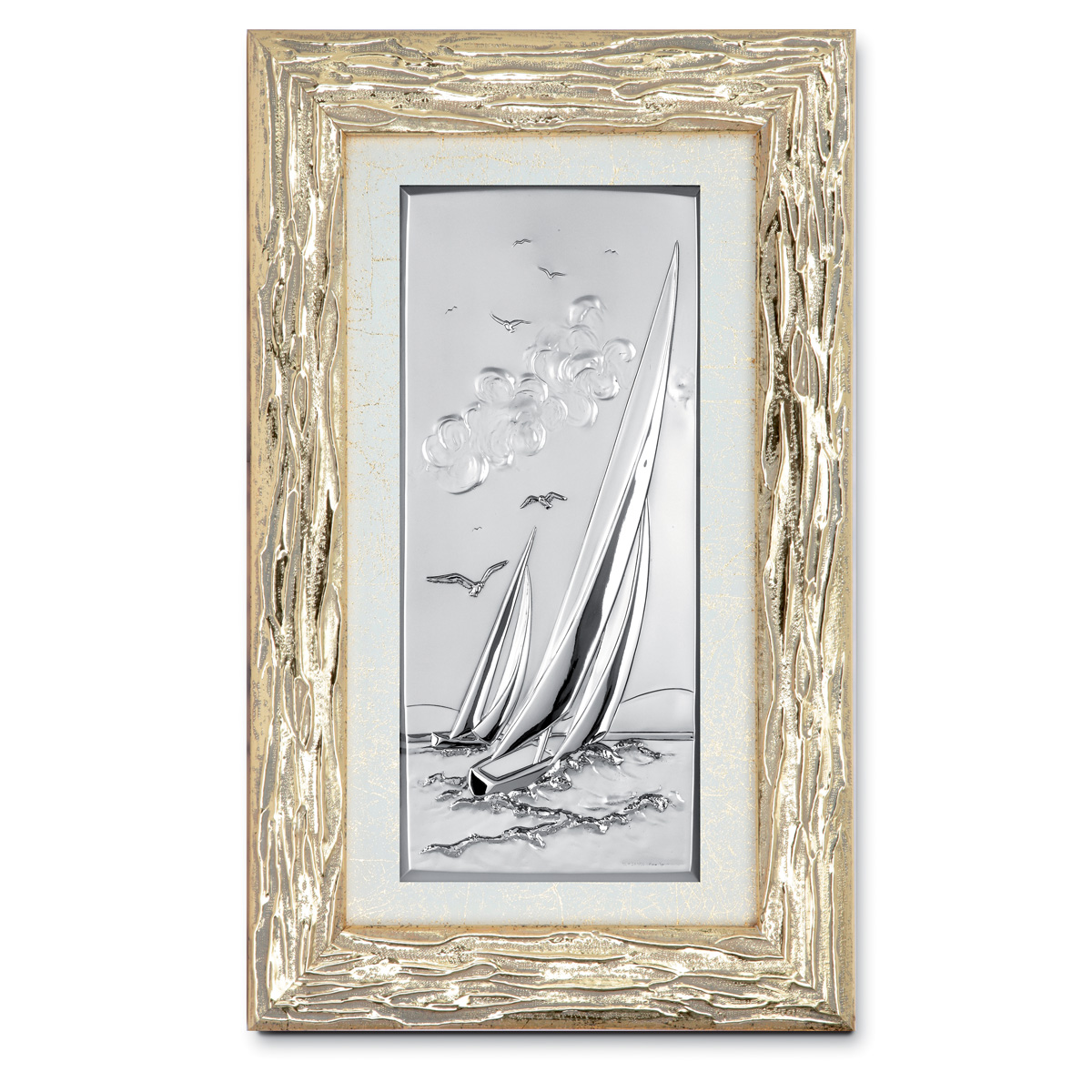 Paesaggio di mare in argento bilaminato con cornice in oro for Quadri in argento