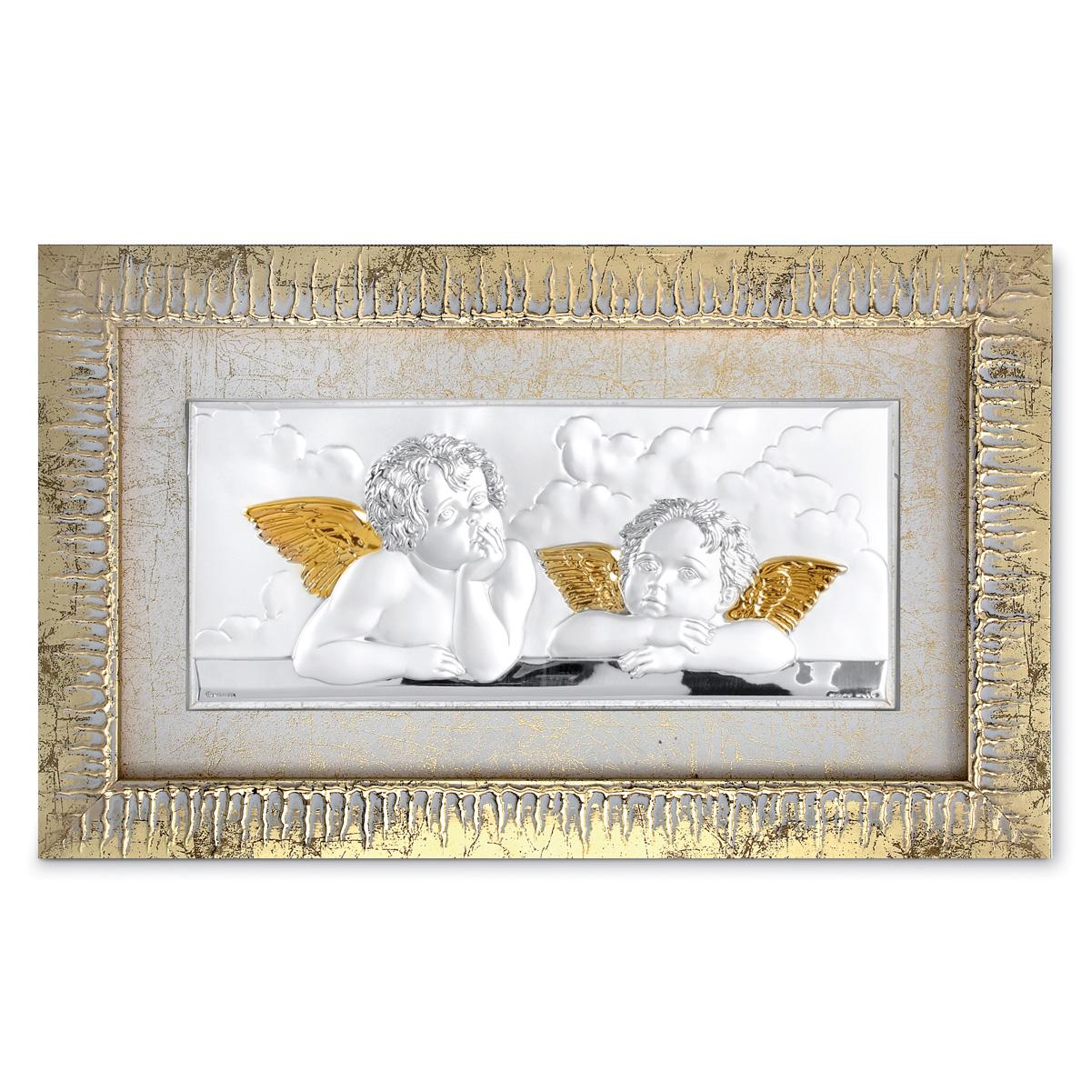 Angeli di raffaello in argento bilaminato dettagli oro e for Quadri con angeli