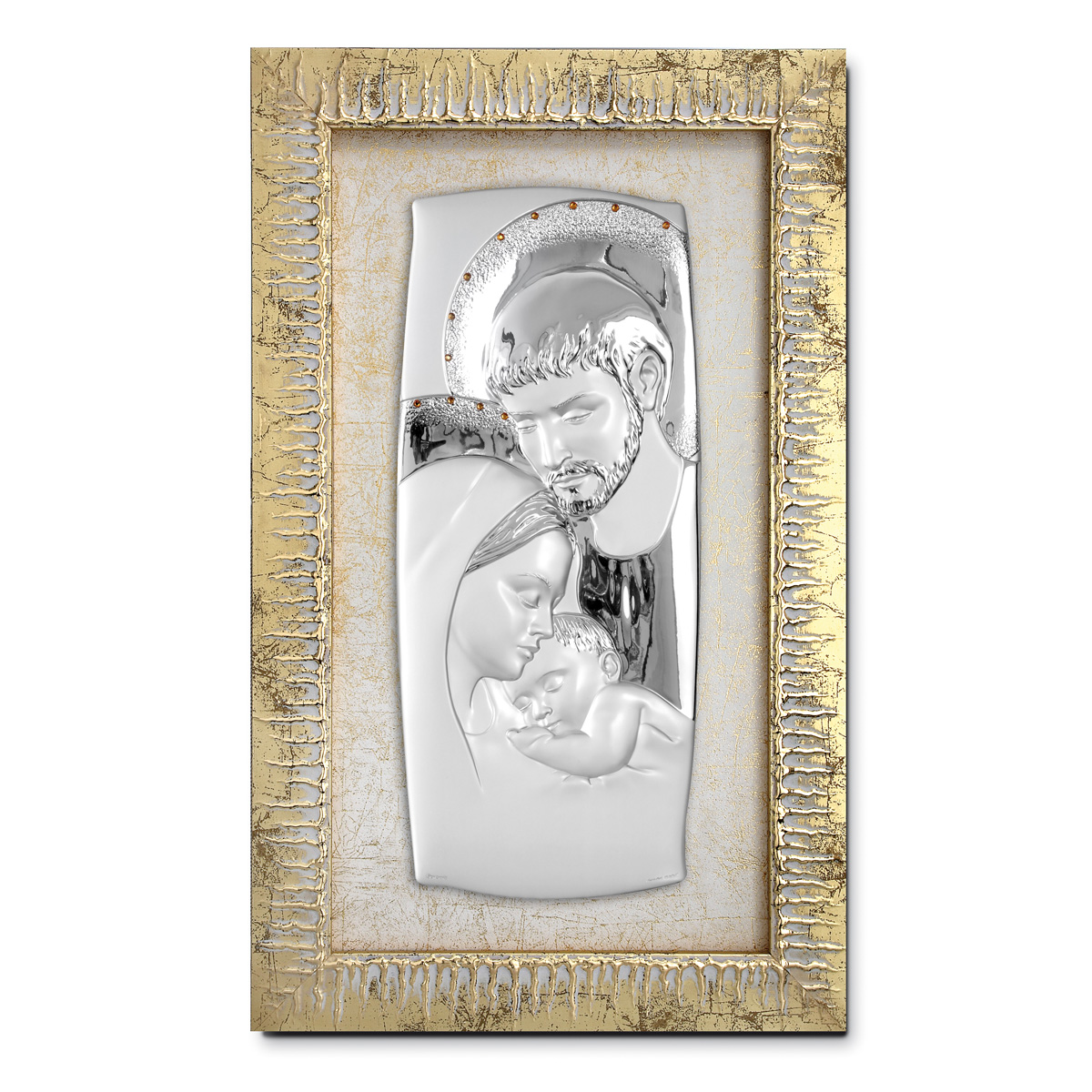 Sacra famiglia in argento bilaminato strass e cornice in for Quadri in argento