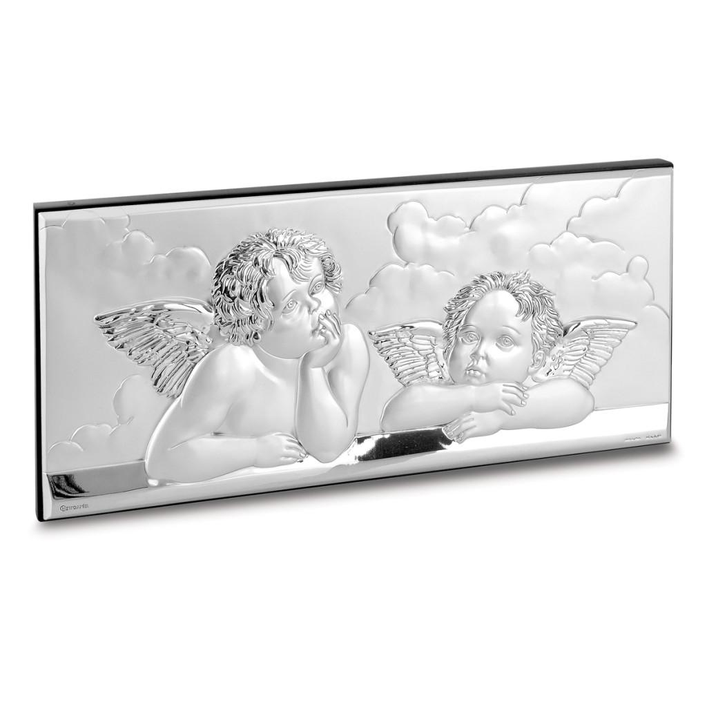 Angeli di raffaello in argento bilaminato e retro in legno for Quadri con angeli