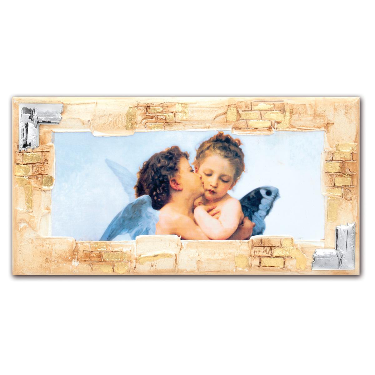 Angeli di raffaello su pannello con placca in argento for Quadri con angeli